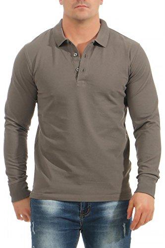 Mivaro Herren Langarmshirt Poloshirt Langarm Hemd Longsleeve Polo Shirt, Größe:XL, Farbe:Anthrazit