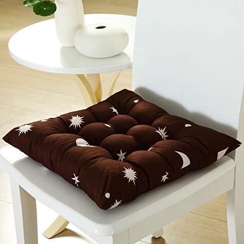 Juego de 4 cojines de silla con lazos cojines de asiento gris estrella luna cojines marrón para silla de comedor 100% algodón cojines de silla con correas (multicolor, 40 x 40 cm)