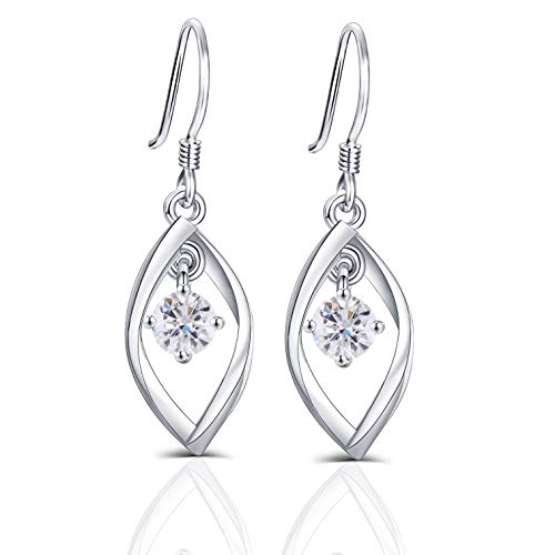 DovEggs Platinum Plated Silver 1ct Center 5mm H-I Color Heart Arrows Cut Moissanite Dangle Earrings for Women 10mm Width 33mm Height