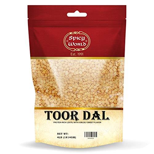 Spicy World Toor Dal 4 Pound Bag | Split Pigeon Pea | Indian Lentils