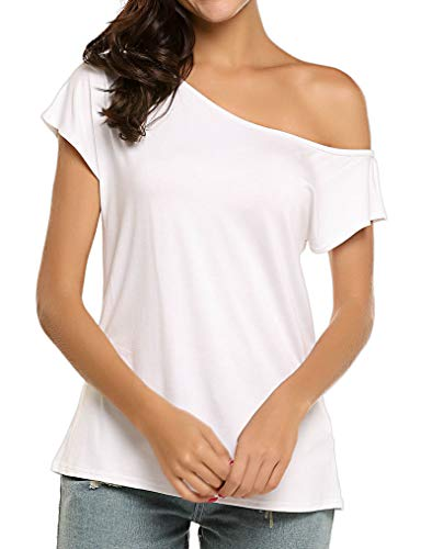 Halife Women Off Shoulder Short Sleeve Blouse Casual Tops T-Shirt (M,White)