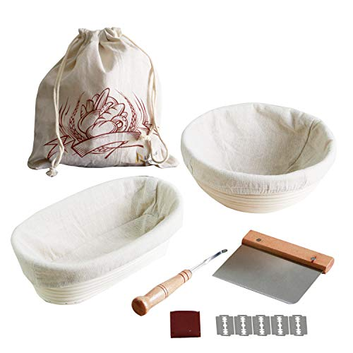 Banneton Bread Proofing Basket Set  Round and Oval Sourdough Proofing Baskets Top Grade Rattan to make healthy and delicious bread for Professional and Home Bakers – Includes Brotform Liner Scoring Lame Stainless Steel Dough Scraper amp Linen Bread bag