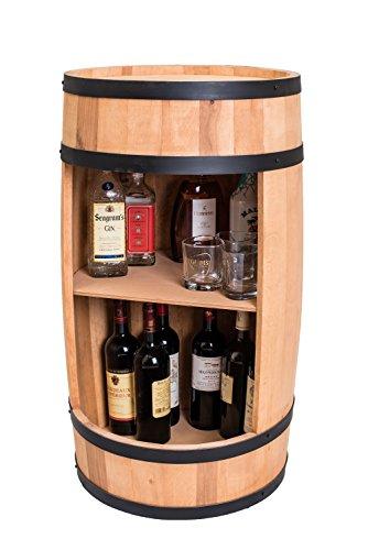 weeco Neues Holzfass, Weinregal aus Massivholz, Design Hausbar - Weinschrank aus Holz, Weinständer, Fass in Heller Farbe