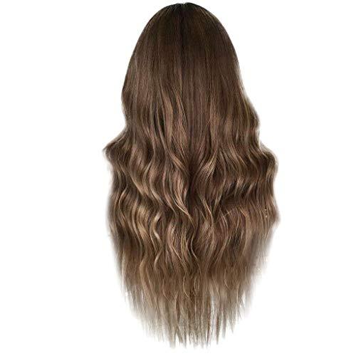 DQANIU 🍒🍒 Damen Perücke, Mode braune Kunsthaar lange Perücken Welle lockige Perücke 24 Inch (Rose Inner Net und Lace Inner Net)