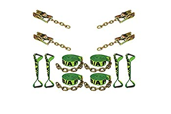 BA Products HV38-218C Neon Green High Visibility 8 Point Tie Down System with 18  Long Straps and Chains on Ratchets & Straps for Rollback Car Hauler Carrier Flat Bed