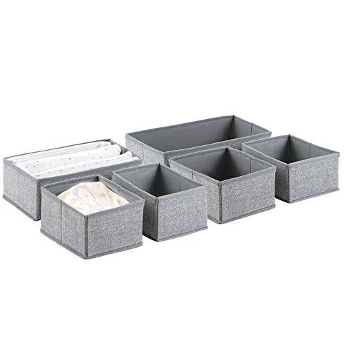 mDesign Babywickeltisch-/Schrank-Organizer für Kleidung, Mützen, Windeln - 6-er Set, Grau
