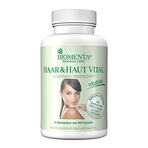 BIOMENTA Haar & Haut Vital Kapseln - mit Bambus Extrakt, Hirse, L-Cystein, MSM, Lycopin, Biotin, Zink, Selen, Kupfer, B-Vitamine, Vitamin A, C, E - Vegan - 90 Haar-Haut-Kapseln - 3 Monatskur