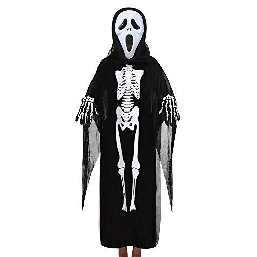Feytuo Kinder Kinderkleidung Gothic Retro Kinder Langarm Skelett Geister Mantel + Horror Maske + Handschuhe DREI Halloween Cosplay Set Cosplay Vintage Kinder Halloween Party