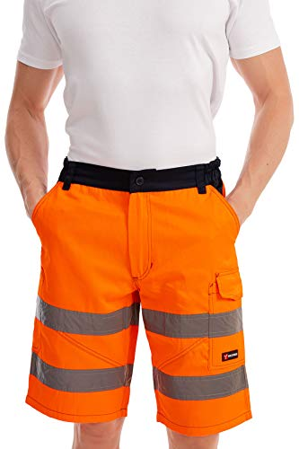 Mivaro Mivaro Kurze Herren Arbeitshose Shorts mit Reflexstreifen in Signalfarben, Farbe:Orange, Größe Hosen:XL