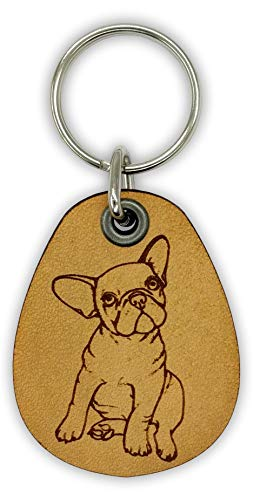 ForLeatherMore - French Bulldog - Frenchie Genuine Leather Keychain - Pet Key Fobs