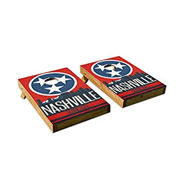 Nashville State Flag Skyline Design Cornhole/Bean Bag Toss Board Set – Made in USA Wood  - 2'x3' Tailgate Size - Includes 8 Corn-Filled Bean Bags