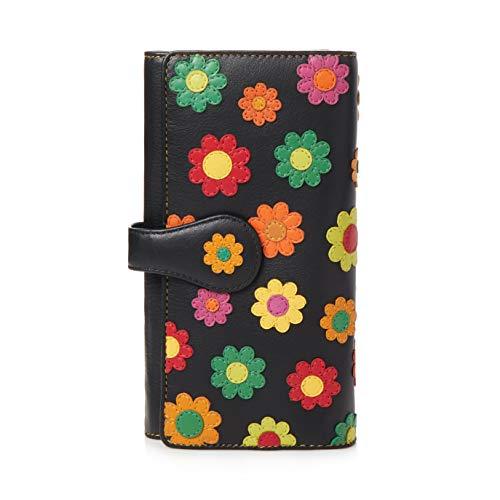 Visconti ® Leder Portemonnaie Damen RFID Schutz Geldbeutel Damen Geldbörse Bifold Mehrfarbig Portmonee in Geschenk-Box ''Polka''