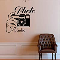 アートポスター 壁紙 フォトスタジオのロゴウォールステッカーフォトカメラウォールステッカーリムーバブル写真壁壁画家のカメラの装飾56x61cm