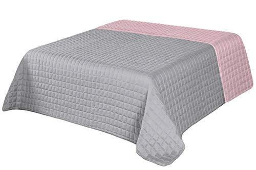 Tagesdecke Bettüberwurf Steppdecke Kuscheldecke Bettdecke Doppelseitig (220 x 240 cm, Grau +Rosa)