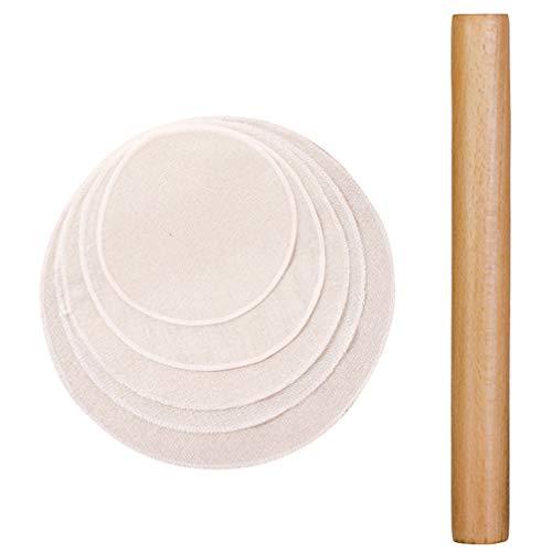 Hemoton Holz Nudelholz Teigrolle für Die Herstellung von Pizza Keks Gebäck Pasta Knödel Teig (16 cm mit 5 Stück 20 cm Dampfgarer)