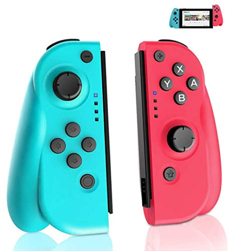 GEEMEE Manette Switch, Manette Pro sans Fil pour Nintendo Switch, Remplacement JOYCON Contrôleur Controller Bluetooth Gamepad Joystick pour Joy Con Switch (Blue & Red) …