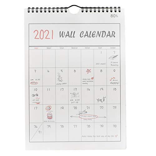 NUOBESTY 1P 2021 Calendario Dipinto a Mano Calendario da Parete Agenda Pianificatore Organizzatore Appeso a Parete Calendario Pianificatore Pianificazione per Grata Casa Ufficio (2020.