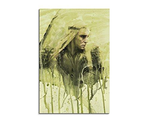 Paul Sinus Art Thranduil in Hobbit 3 90x60cm Wandbild Aquarell Kunstbild Malerei Leinwandbild Fotoleinwand