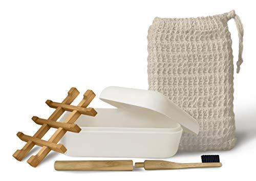 EDARTO® Zeepschaal van natuurlijk bamboe, wit hout met afdruipbak en deksel van bamboevezel, bamboe-tandenborstel en zeepzakje, 100% natuurlijke sisal voor lichaam, peeling