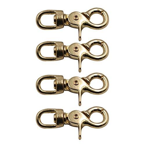 UKCOCO 4 Stück Durchmesser 10 cm Messing Karabinerverschluss Oval Swivel Trigger Clips Haken für Straps Taschen Belting Leathercraft