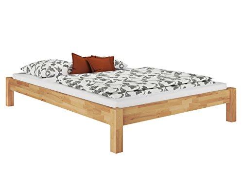 Erst-Holz® Doppelbett Ehebett Kingsize-Bett Futonbett 160x200 Buche massiv mit wählbarem Zubehör 60.84-16, Ausstattung:ohne Zubehör