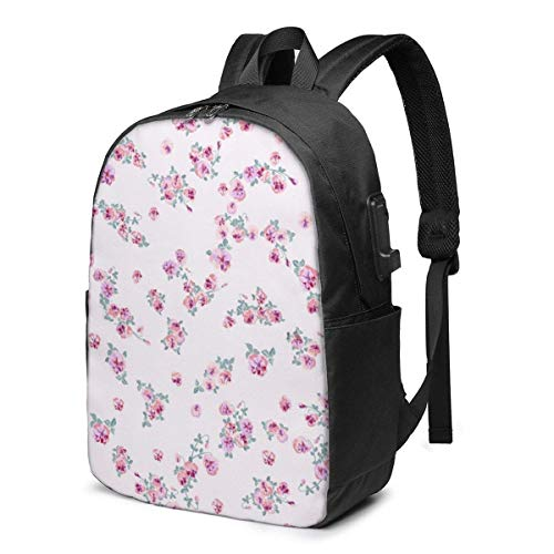 Hdadwy Ditsy in Small Cute Wild Flowers. USB Backpack 17-Inch Laptop Backpack Adjustable Shoulder Strap Men's and Women's Business Travel College School Backpacks