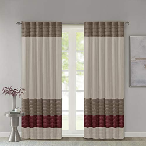 Madison Park Amherst Faux Silk Rod Pocket Curtain With Privacy Lining for Living Room, Window Drapes for Bedroom and Dorm, 50x84, Red