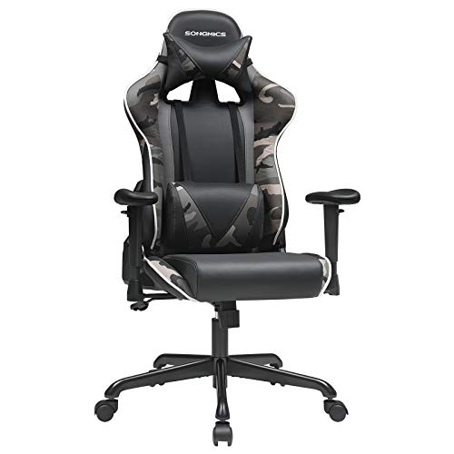 SONGMICS Gaming Chair, Racing Office Chair, Ergonomic, with Adjustable Backrest, Armrests, Headrest, Lumbar Support, Black and Camouflage URCG047B02
