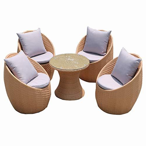 DNNAL Conjuntos de Muebles de Porche del Patio, 5 Piezas Muebles de Exterior Ocio Ratan Rattan Mesas y sillas Balcón Terraza Mesas y sillas de ratán Hechos a Mano
