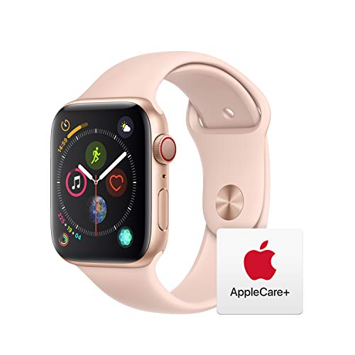 Apple Watch Series 4 (GPS + Cellular, 44mm) - Gold Aluminum Case with Pink Sand Sport Band with AppleCare+ Bundle