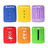 Yanhan Education Early Learning Basic Life Skills Fine Motor Dressing Board - Zip, Snap, Button, Buckle, Lace & Tie for Toddler 1-3 Activity Busy Board Toy