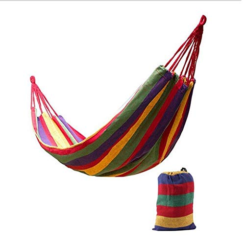 Ltong 2 Persons Striped Hammock Outdoor Leisure Bed Thickened Canvas Hanging Bed Sleeping Swing Hammock For Camping Hunting,red