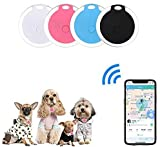 4 Pack Smart Key Finder Locator, GPS Tracking Device for Kids Pets Keychain Wallet Luggage Anti-Lost Tag Alarm Reminder Selfie Shutter APP Control Compatible iOS Android