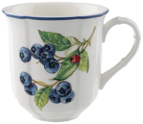 Villeroy & Boch - Cottage Kaffeebecher mit Früchtedekor, Kaffeetasse aus Premium Porzellan im Landhausstil, spülmaschinengeeignet, 300 ml