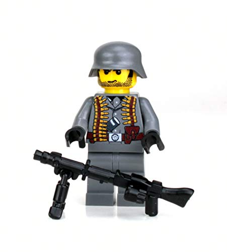 Battle Brick German WW2 Soldier MG34 Custom Minifigure