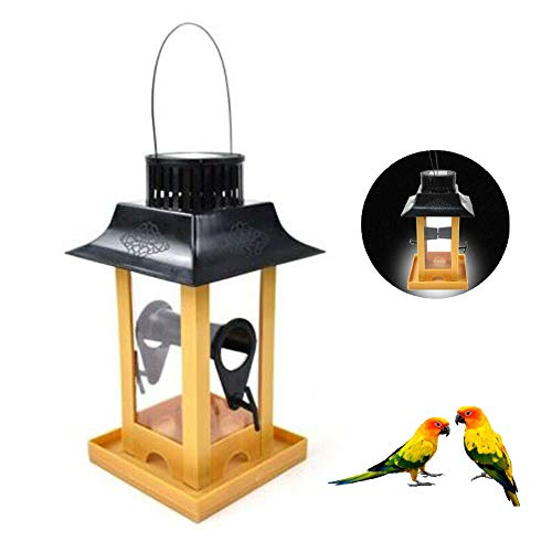 Parrot Feeder Met Solar LED Light, Outdoor Bird Feeder, Balkon Opknoping Haak Bird Feeding Pigeon Crow Parrot