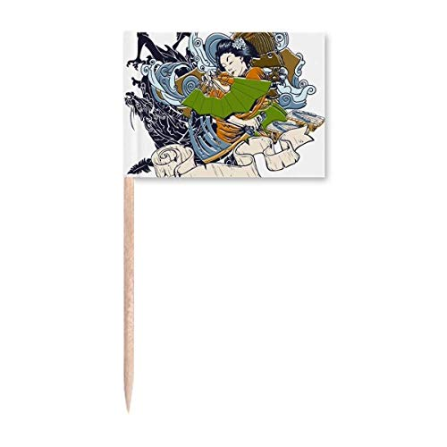 Japan Kimono Frau Samurai Schwert Zahnstocher Flaggen Marker Topper Party Dekoration