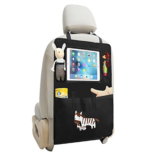 Zuoao Organizer Sedile Posteriore Auto, Multi-Tasca Borsa da Viaggio, Proteggi Sedile Auto Bambini Universal Auto Organizer Impermeabile e Resistente con Tasca per Tablet (Zebra)