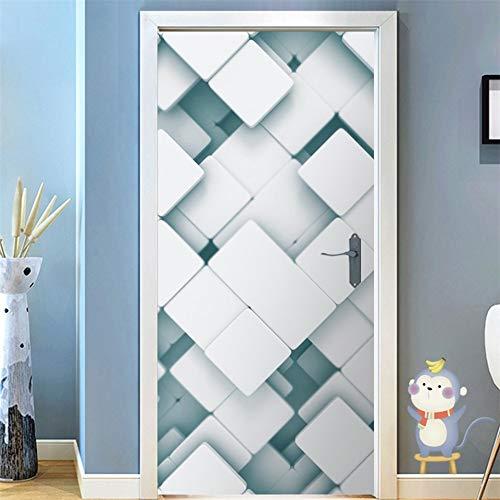 DFKJ Pegatina de Puerta geométrica Negra, póster Autoadhesivo extraíble, Papel Tapiz Espacial Tridimensional, Pegatina de diseño para el hogar A10 85x215cm