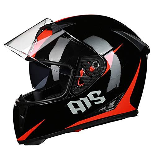 HVW Casco de Motocicleta, Certificado por Dot/ECE Casco de protección Integral de Calle Modular con Doble Visera de ventilación, ciclomotor, Scooter, Casco Integral de Motocross,B,XXL62to63cm
