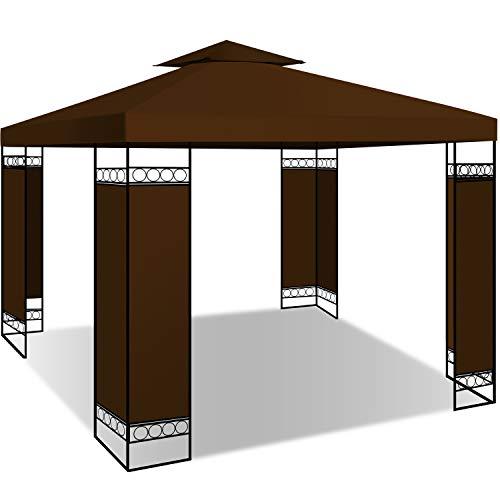 KESSER® - Pavillon 3x3m wasserabweisend UV-Schutz 50+ Metall Gestell Partyzelt Gartenzelt Luxus Gartenpavillon 9m² Festzelt, Braun