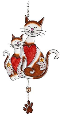 dekojohnson Moderne Fensterdeko Katze Paar Mietze hängend Fensterhänger Dekohänger Glas-Bild Tiffany Braun/Weiß/Silber Türhänger 35cm