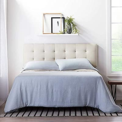LUCID Square Tufted Mid Rise Adjustable Height Headboard, King/Cal King, Pearl
