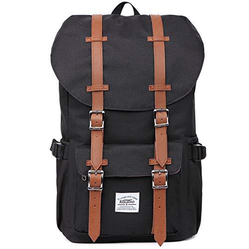 KAUKKO Rucksack Damen Herren Schön und Durchdacht Daypack mit Laptopfach für 14 Zoll Notebook für Schule,Uni, 22.4L, Schwarz