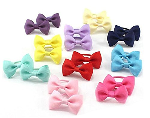 Erioctry - Fiocchi elastici per capelli, per acconciatura a coda di cavallo, per bambine e ragazze, confezione da 20 pezzi