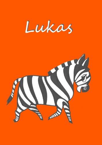 Malbuch / Notizbuch / Tagebuch - Lukas: Zebra, DIN A4, blanko mit kleinem Zebra auf jeder Seite