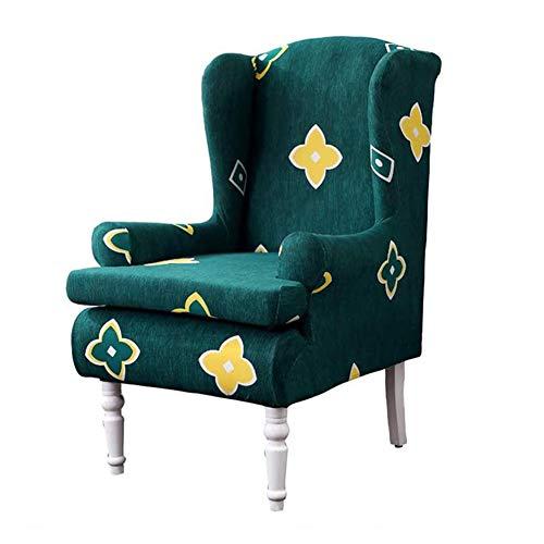 GOICC® Ohrensessel Überzug Bezug Blumen Muster Sesselhusse Elastisch Stretch Husse Für Ohrenbackensessel Sesselbezug Stretch Passt Perfek