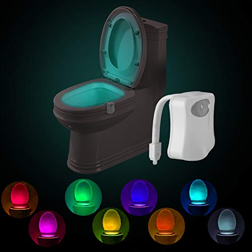 Powerole Toilet Night Light PIR Motion Activated Toilet Light Sensor LED Washroom Night Light Inside Toliet Lamp 8 Colors Changing Battery Operated Motion Sensor for Bathroom Washroom