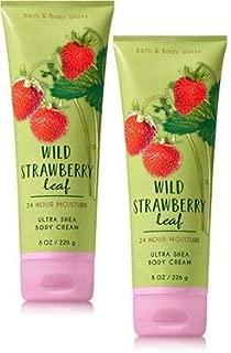 Bath and Body Works 2 Pack Wild Strawberry Leaf Ultra Shea Body Cream. 8 Oz