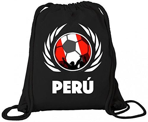ShirtStreet Wappen World Cup Fussball WM Fanfest Bio Baumwoll Turnbeutel Rucksack Gym Bag Fußball Peru, Größe: onesize,Black